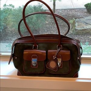 Dooney Bourke Purse green with brown accents.
